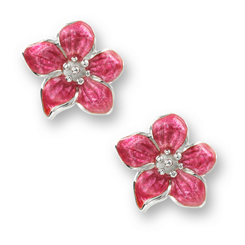 Sterling Silver Violet Flower Stud Earrings-Pink.