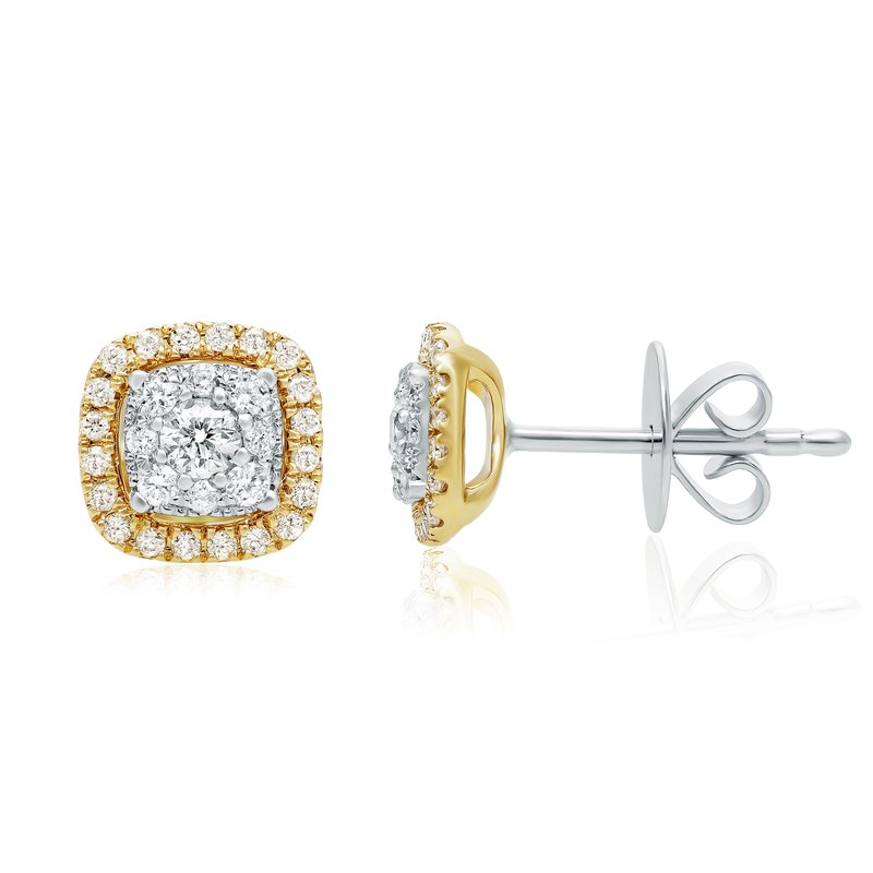Roman & Jules Yellow Gold Halo Diamond Earrings