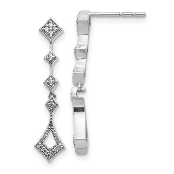 14k White Gold Diamond Vintage Earrings
