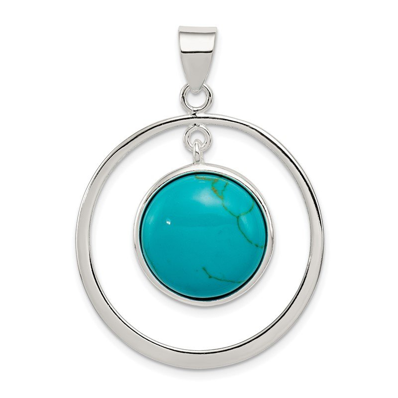 Fine Jewelry by JBD Sterling Silver Circle Turquoise Pendant