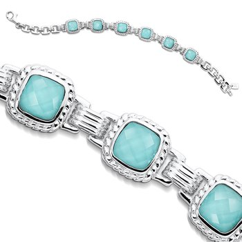 Sterling Silver Turquoise and White Quartz Fusion Bracelet