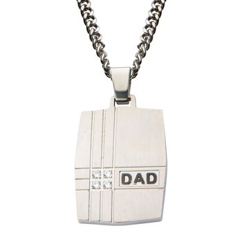 Geometric Design Engraved DAD Dog Tag Pendant with Chain