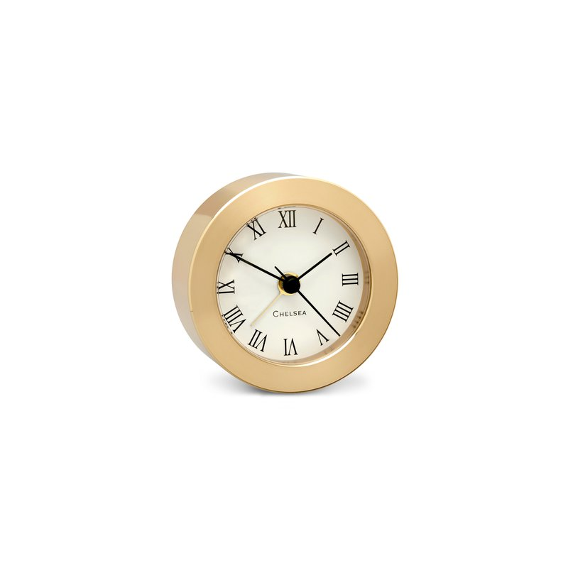 Chelsea Clocks Round Desk Alarm Clock In Brass
