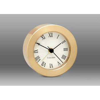 Round Desk Alarm Clock in Brass