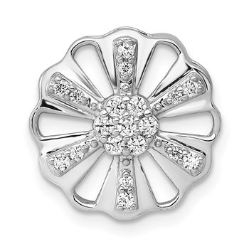 14k White Gold 1/5ct. Diamond Fancy Floral Chain Slide