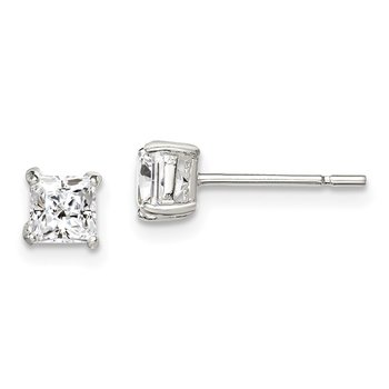 Sterling Silver 4mm Princess Basket Set CZ Stud Earrings