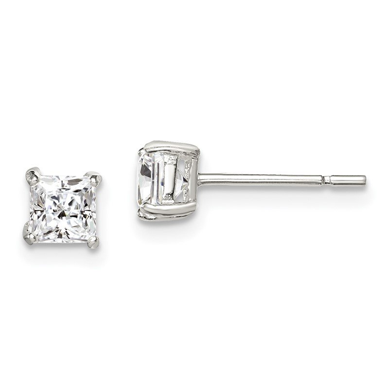 Quality Gold Sterling Silver 4mm Princess Basket Set CZ Stud Earrings