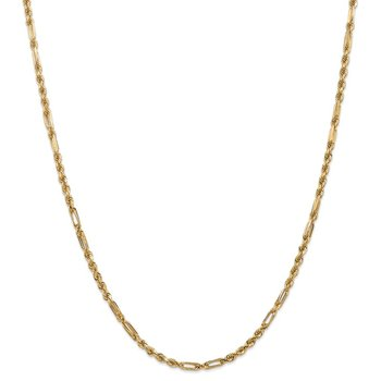 14k 3.0mm D/C Milano Rope Chain