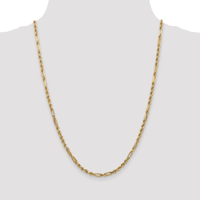 Quality Gold 14k 3.0mm D/C Milano Rope Chain