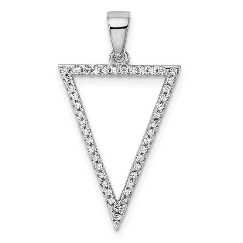 Quality Gold Sterling Silver Rhodium-plated CZ Triangle Pendant