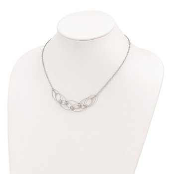 Sterling Silver Rhodium-plated D/C Beads w/2in ext. Necklace