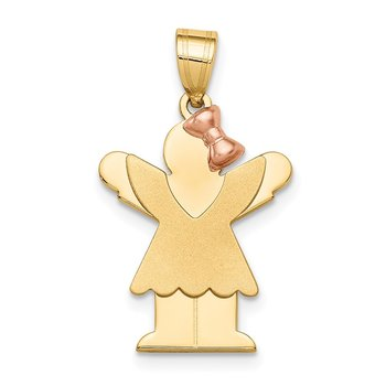 14k Two-Tone Small Girl with Bow on Right Engravable Charm