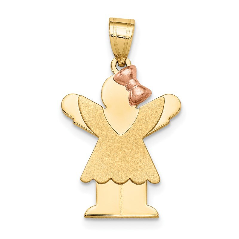 Quality Gold 14k Two-Tone Small Girl with Bow on Right Engravable Charm