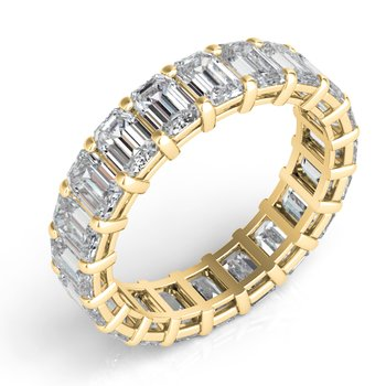 18K Yellow Gold Emerad Cut Eernity Band
