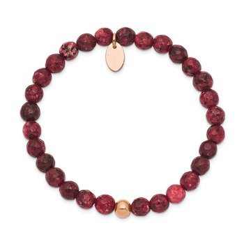 Stainless Steel Polished Rose IP-plated Red Jade Stretch Bracelet