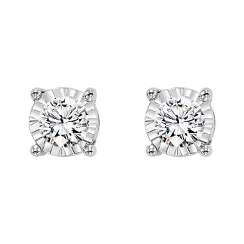 Four Prong Diamond Stud Earrings in 14K White Gold (1/10 ct. tw.) SI3 - G/H