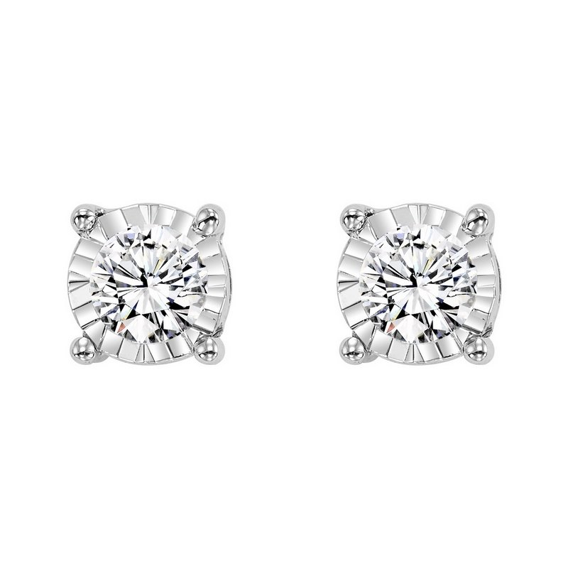Gems One Four Prong Diamond Stud Earrings in 14K White Gold (1/10 ct. tw.) SI3 - G/H