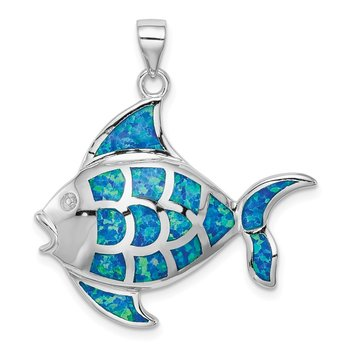 Sterling Silver Rhodium-plated Created Blue Opal Fish Pendant