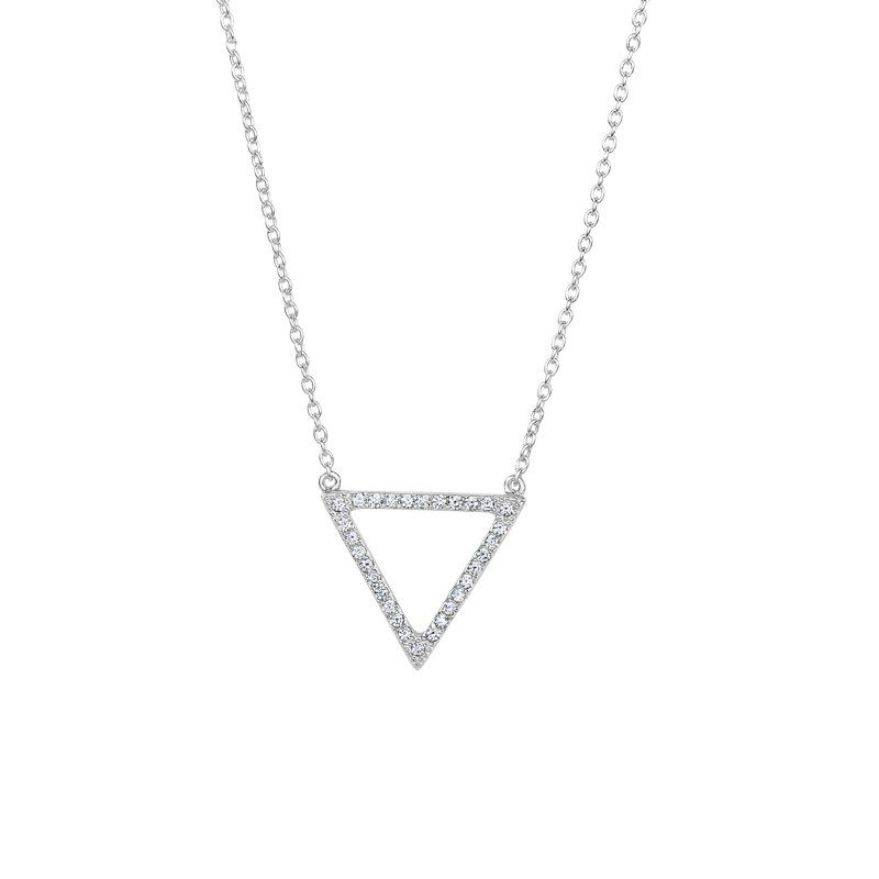 Royal Chain Silver CZ Triangle Necklace