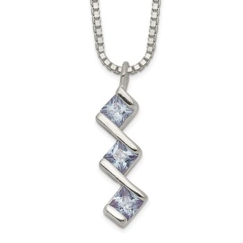 Sterling Silver Square Purple CZ 3-stone Necklace