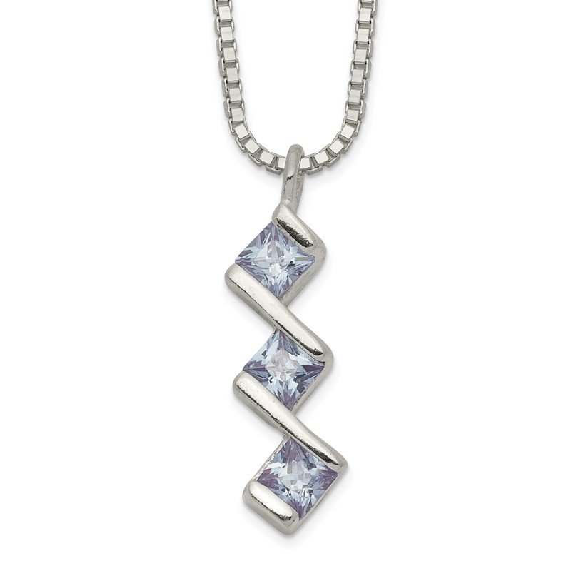 Quality Gold Sterling Silver Square Purple CZ 3-stone Necklace