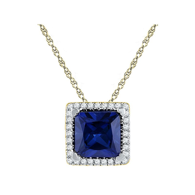 Gold-N-Diamonds, Inc. (Atlanta) 10kt Yellow Gold Womens Princess Lab-Created Blue Sapphire Solitaire Diamond Pendant 1-7/8 Cttw