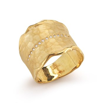 14K-Y GALLERY CUFF RING, 0.15CT