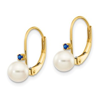 14k 5-5.5mm White Round FW Cultured Pearl Sapphire Leverback Earrings