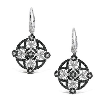 Black And White Diamond Fashion Earrings in 14k White Gold with 268 Diamonds weighing 3.01ct tw.