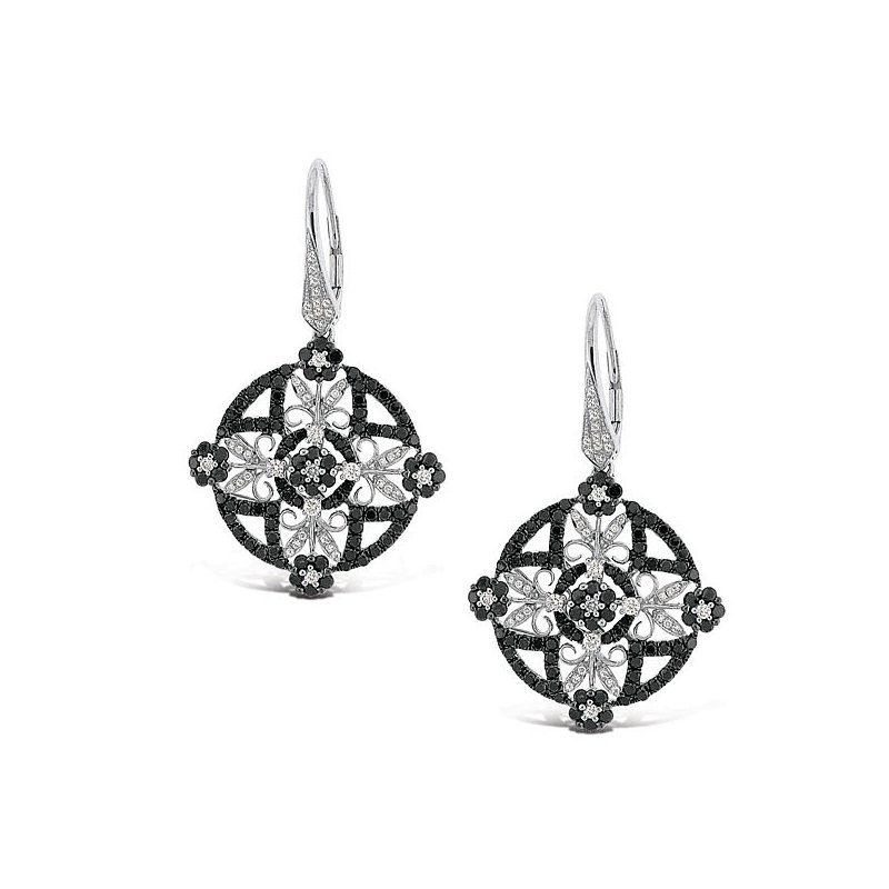 MAZZARESE Fashion Black And White Diamond Fashion Earrings in 14k White Gold with 268 Diamonds weighing 3.01ct tw.
