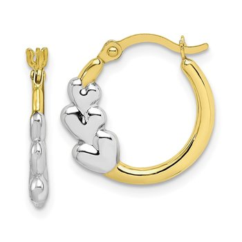 10K & Rhodium and Hearts Hollow Hoop Earrings