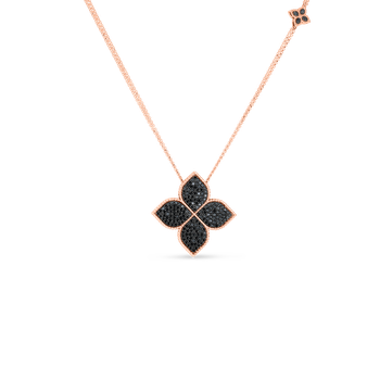 18K Black Diamond Medium Flower Pendant On Long Chain