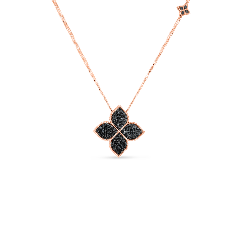 Roberto Coin 18K Black Diamond Medium Flower Pendant On Long Chain