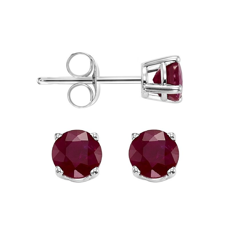 Gems One Four Prong Garnet Studs in 14K White Gold (4 MM)