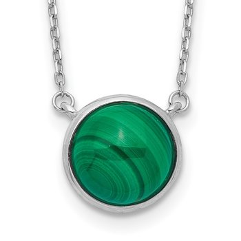 Sterling Silver Rhodium-plated Round Malachite Cabochon Necklace