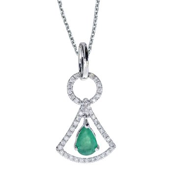 14k White Gold Emerald and .16 ct Diamond Pendant