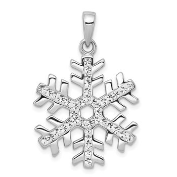Sterling Silver Rhodium Plated Stellux Crystal Snowflake Pendant