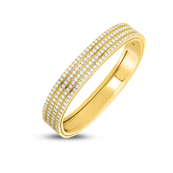18Kt 4 Row Diamond Portofino Hinged Bangle
