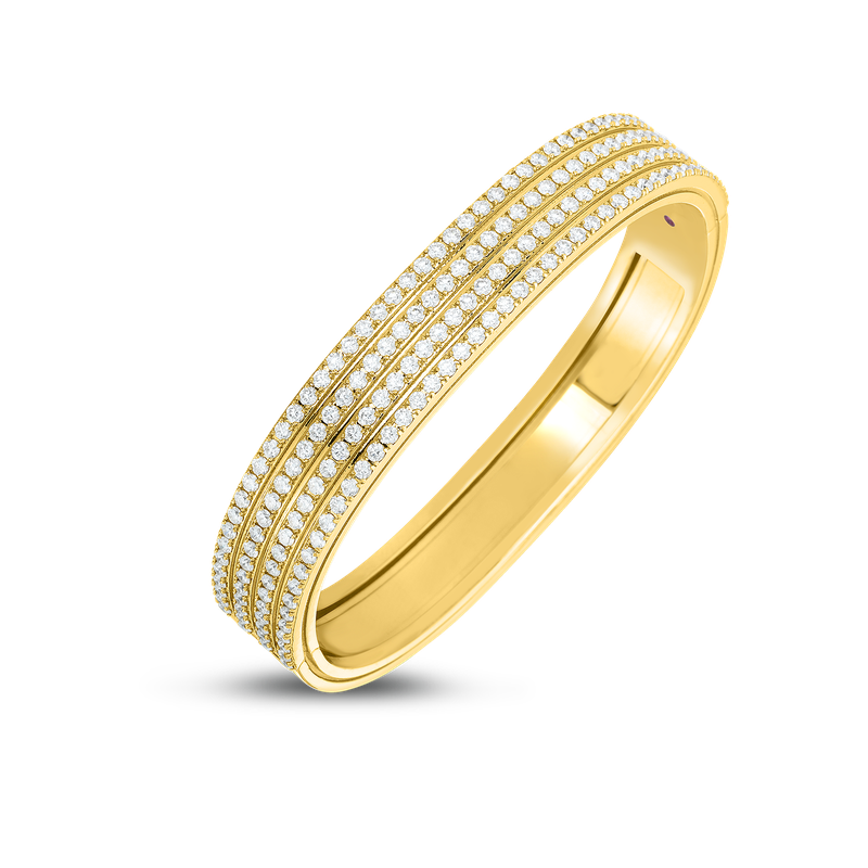 Roberto Coin 18Kt 4 Row Diamond Portofino Hinged Bangle