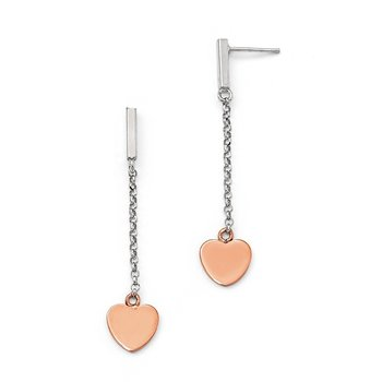 Leslie's Sterling Silver Rose Gold-plated Heart Post Dangle Earrings