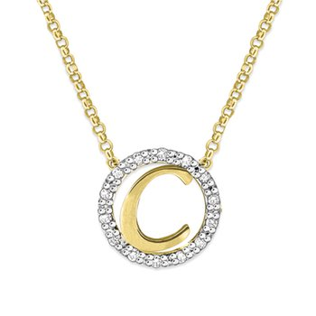 "Gold and Diamond Mini Halo ""C"" Initial Necklace"