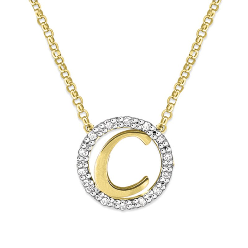 "KC Designs Gold and Diamond Mini Halo ""C"" Initial Necklace"