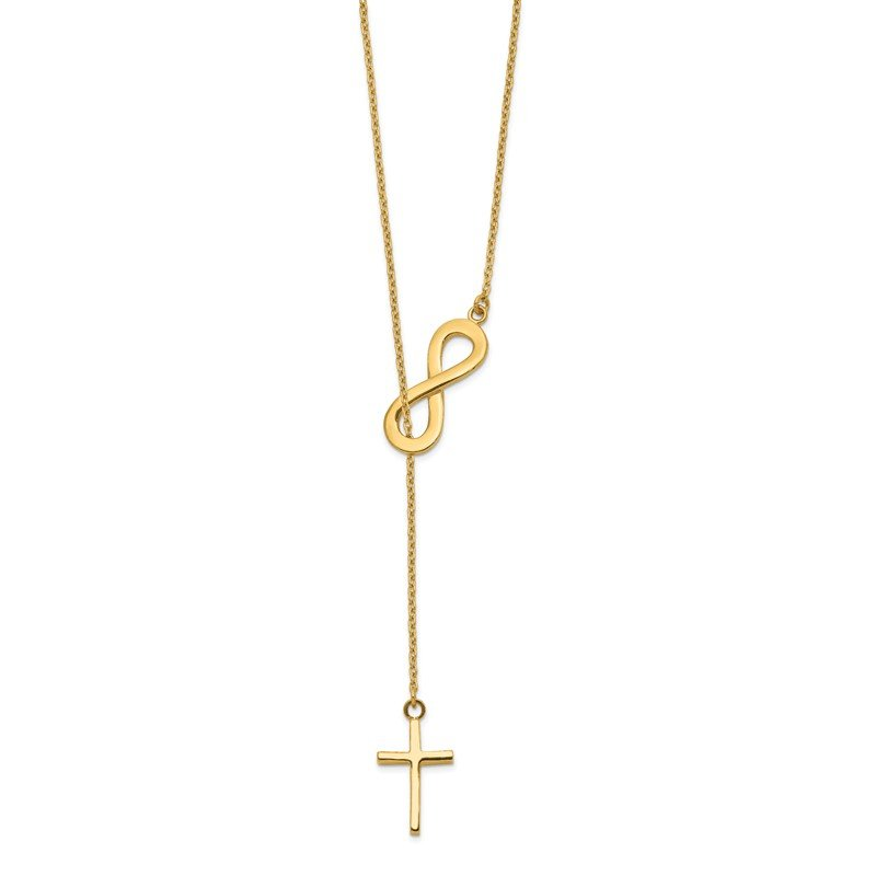 Quality Gold 14k Polished Infinity & Cross Lariat Necklace