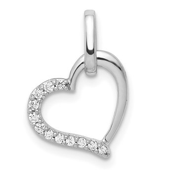 14k White Gold 1/15ct. Diamond Heart Pendant