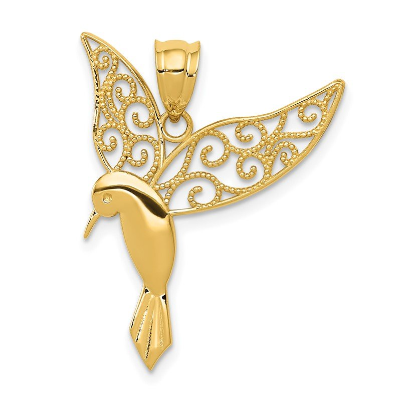 Quality Gold 14k Polished Hummingbird Pendant