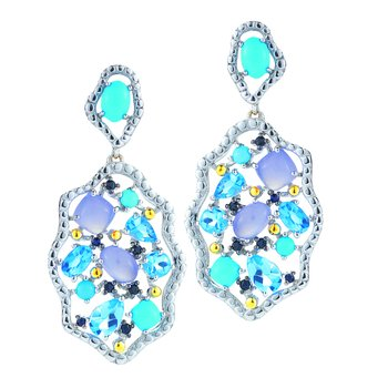 Sterling Silver and 14K Yellow Gold Drop Earrings with Precious and Semi Precious Stones