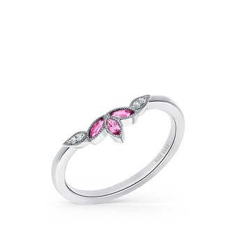 Pink Sapphire Diamond Wedding Band
