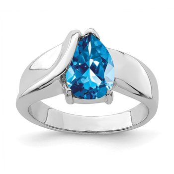 Sterling Silver Rhodium-plated Blue CZ Ring