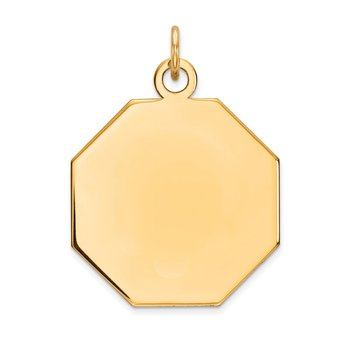 14k Plain .013 Gauge Engravable Octagonal Disc Charm