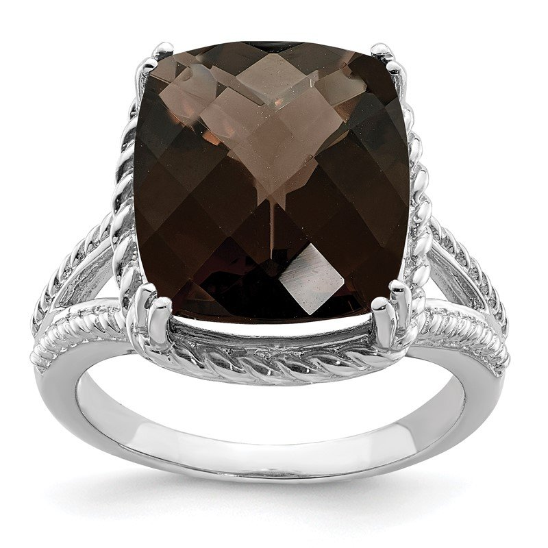 Quality Gold Sterling Silver Rhodium Checker-Cut Smoky Quartz Ring